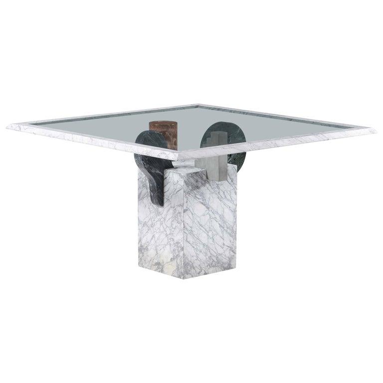Pier Alessandro Giusti and Egidio Di Rosa Brugiana Table in Marble and Sandstone For Sale