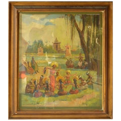 Pier Antonio Gariazzo Painting Balinese Dance Dated 1938