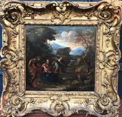 17th Century Old Master Religious Oil painting - Rest on the Flight into Egypt