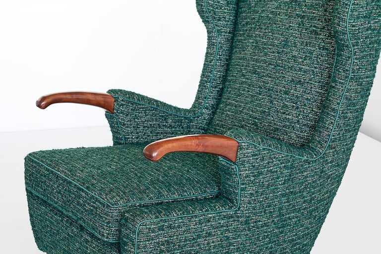 Pier Luigi Colli Armchair in Green Pierre Frey Fabric, Italy, 1947 For Sale 5