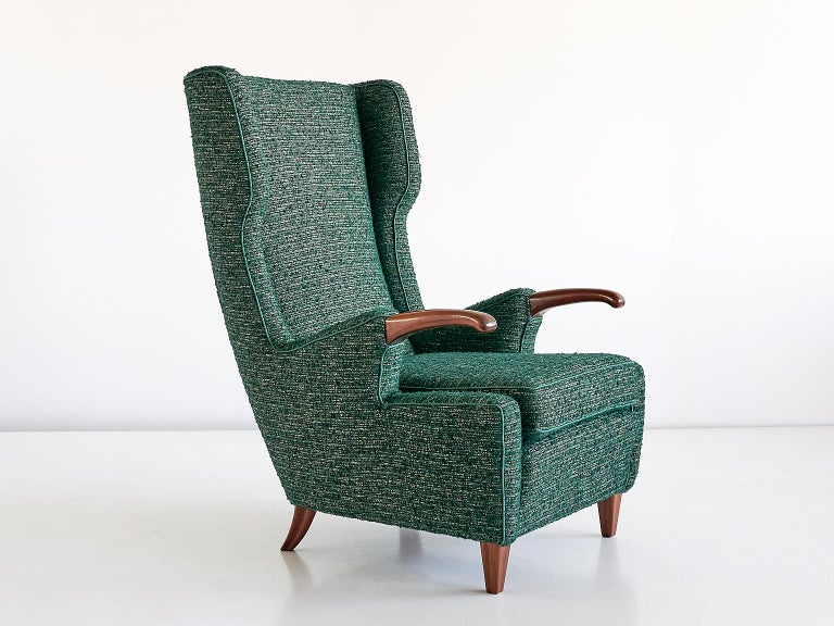 Pier Luigi Colli Armchair in Green Pierre Frey Fabric, Italy, 1947 For Sale 6