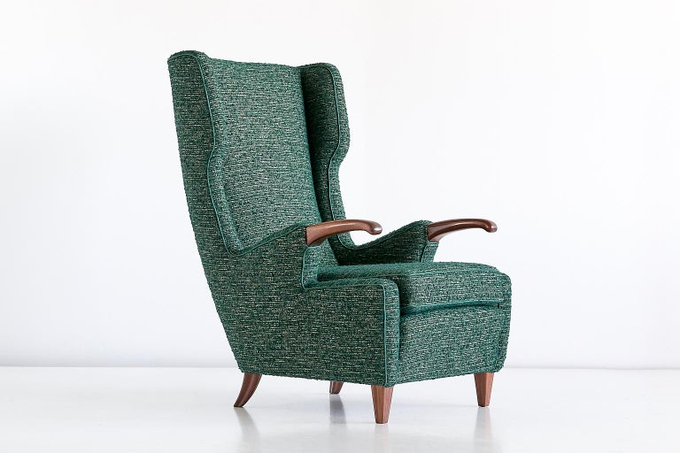 Italian Pier Luigi Colli Armchair in Green Pierre Frey Fabric, Italy, 1947 For Sale