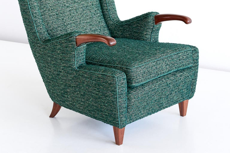 Pier Luigi Colli Armchair in Green Pierre Frey Fabric, Italy, 1947 For Sale 1