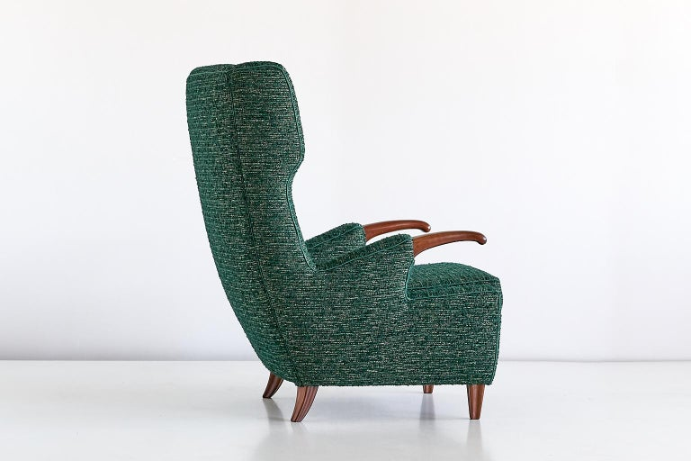 Pier Luigi Colli Armchair in Green Pierre Frey Fabric, Italy, 1947 For Sale 2