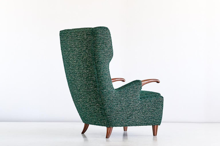 Pier Luigi Colli Armchair in Green Pierre Frey Fabric, Italy, 1947 For Sale 3