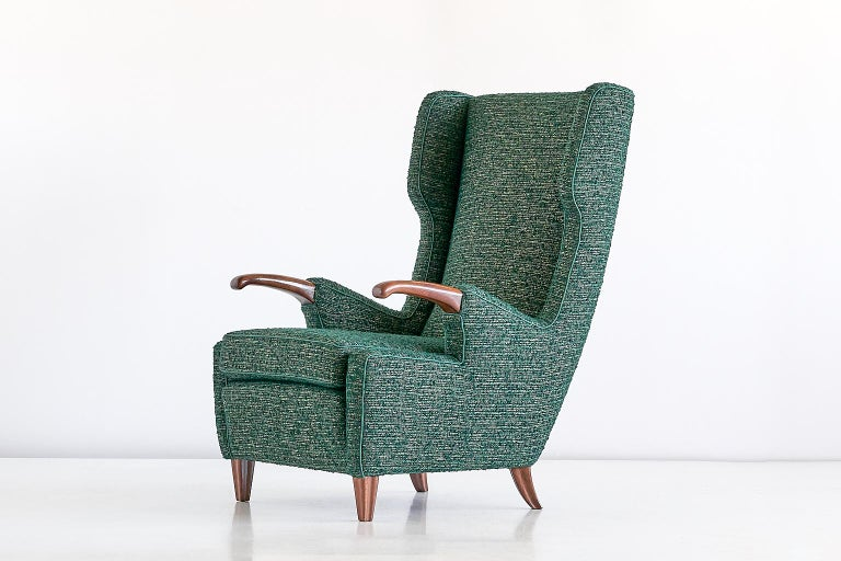 Pier Luigi Colli Armchair in Green Pierre Frey Fabric, Italy, 1947 For Sale 4