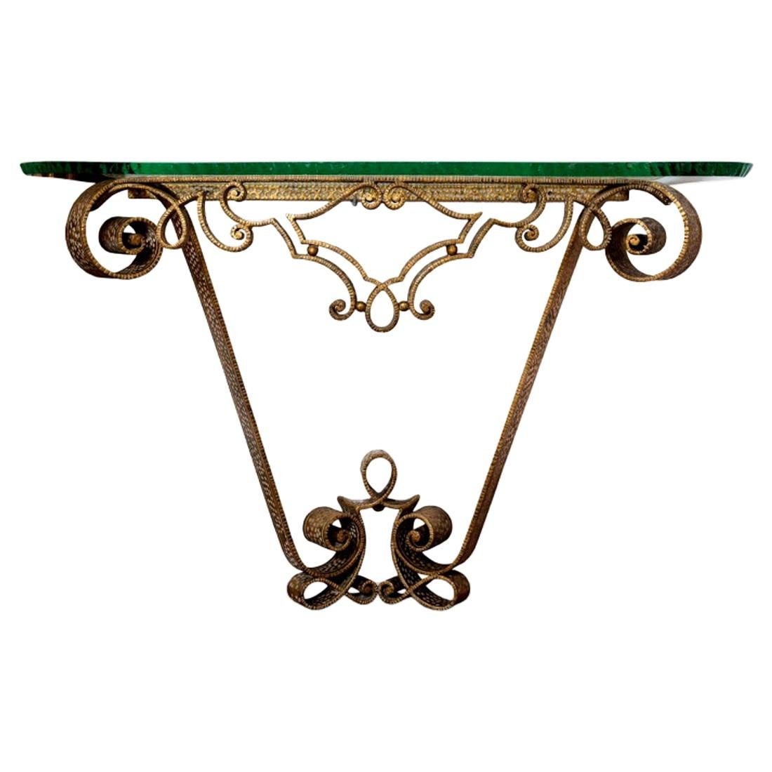 Pier Luigi Colli Gilded Wrought Iron and Crystal Console Table