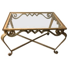 Pier Luigi Colli, Hand-Hammered Gilt Iron and Glass Low Table, Italy, 1950