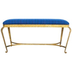 Pier Luigi Colli Large Gold Iron Bedroom Bench Blue Fabric, Italy, 1950