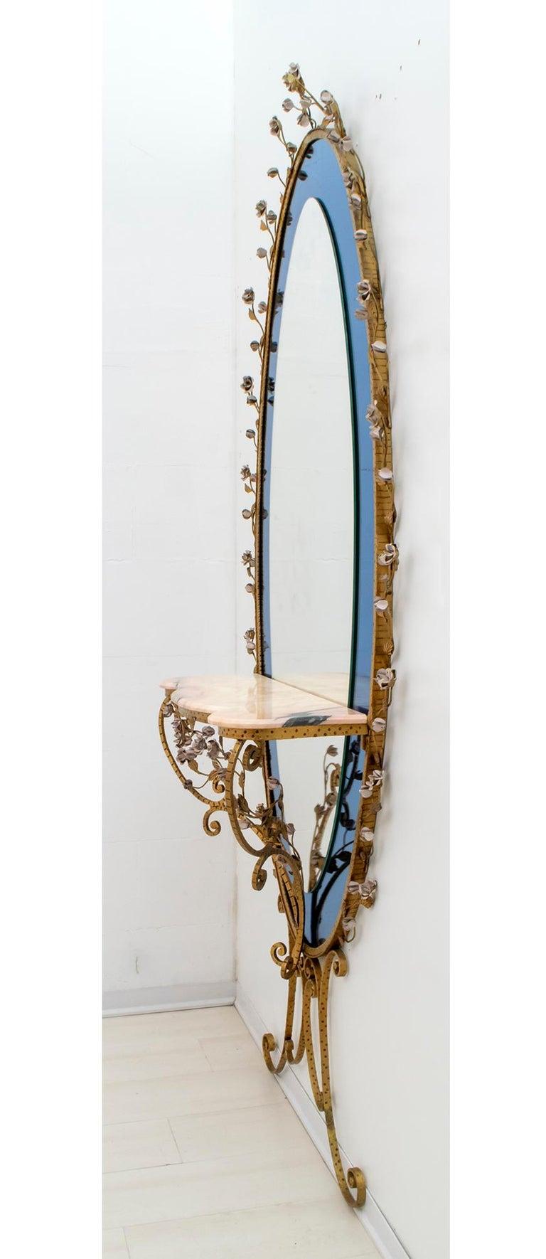 Pier Luigi Colli Mid-Century Modern Italian Wrought Iron Hallway Mirror, 1950s For Sale 5