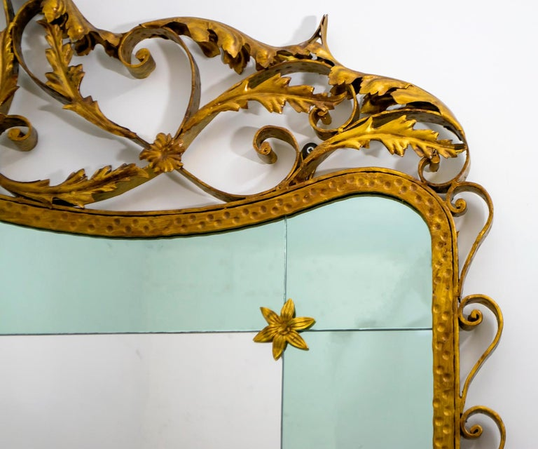 Pier Luigi Colli Mid-Century Modern Italian Wrought Iron Hallway Mirror, 1950s For Sale 7