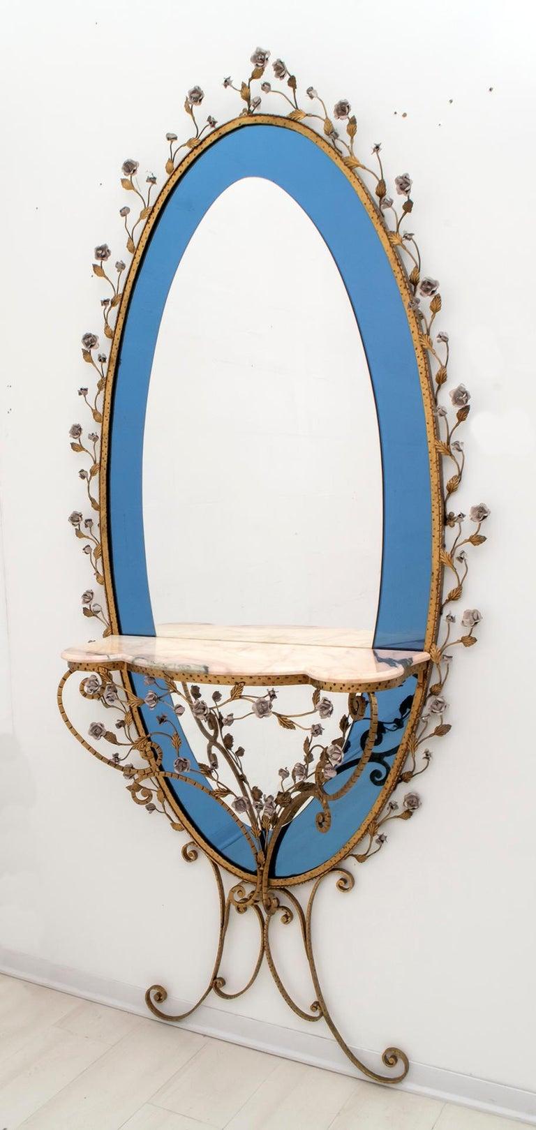 Pier Luigi Colli Mid-Century Modern Italian Wrought Iron Hallway Mirror, 1950s In Good Condition For Sale In Cerignola, Italy Puglia