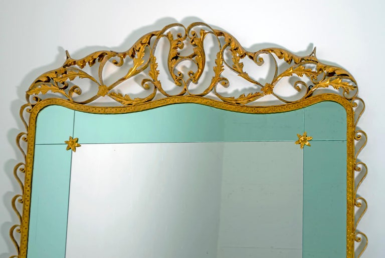 20th Century Pier Luigi Colli Mid-Century Modern Italian Wrought Iron Hallway Mirror, 1950s For Sale