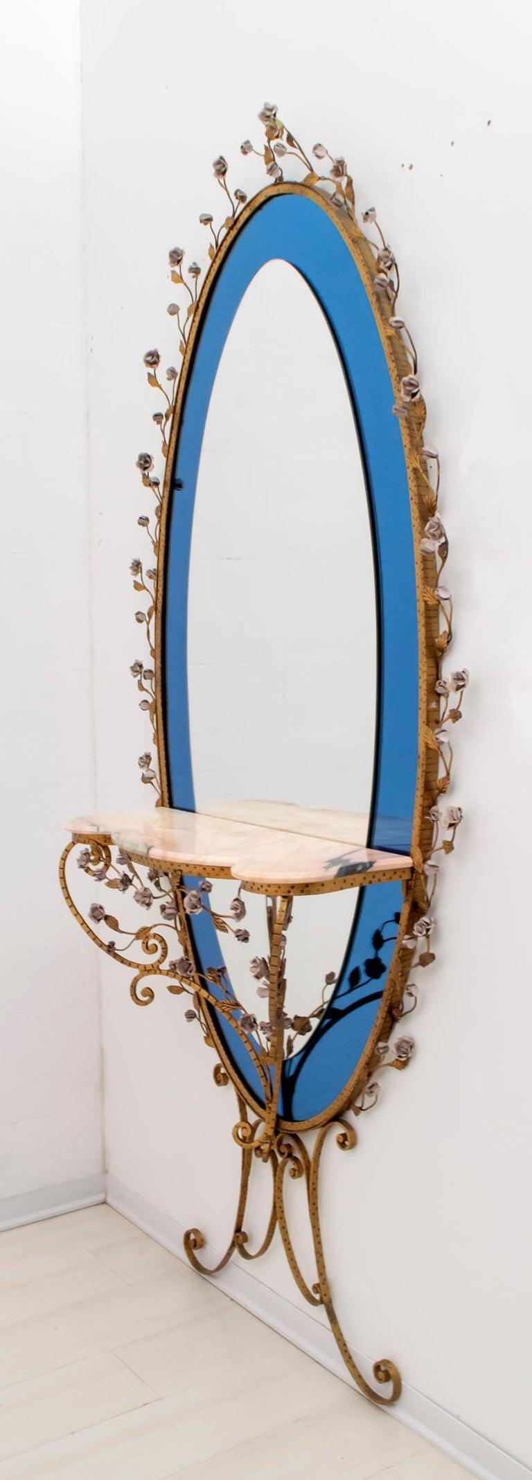 20th Century Pier Luigi Colli Mid-Century Modern Italian Wrought Iron Hallway Mirror, 1950s For Sale