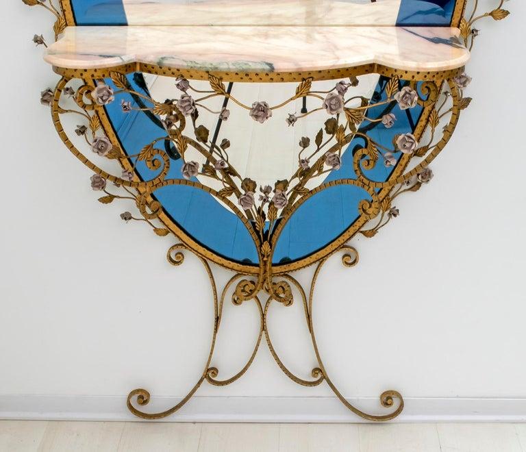Marble Pier Luigi Colli Mid-Century Modern Italian Wrought Iron Hallway Mirror, 1950s For Sale