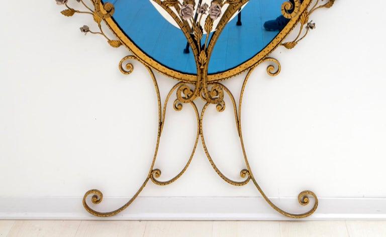 Pier Luigi Colli Mid-Century Modern Italian Wrought Iron Hallway Mirror, 1950s For Sale 1
