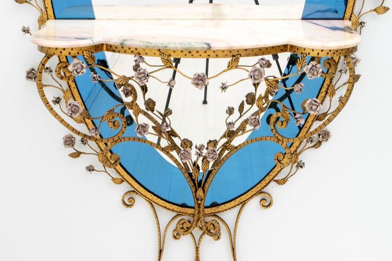 Pier Luigi Colli Mid-Century Modern Italian Wrought Iron Hallway Mirror, 1950s For Sale 2