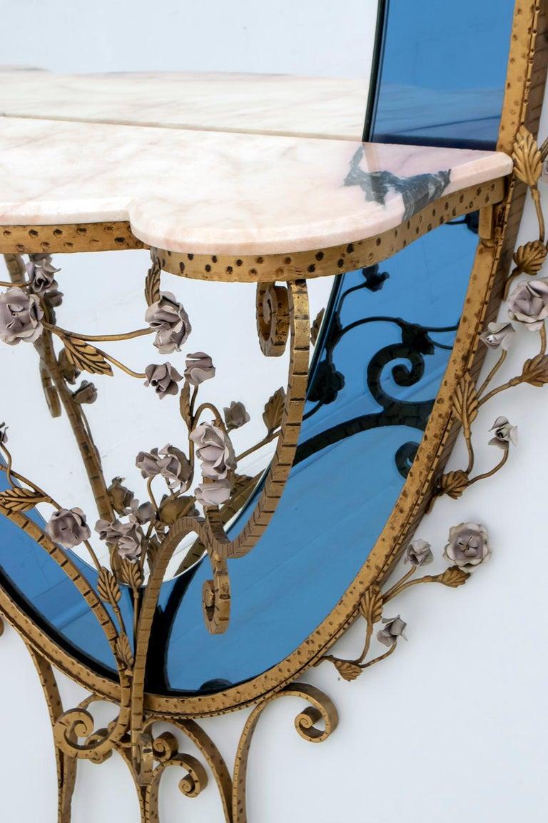 Pier Luigi Colli Mid-Century Modern Italian Wrought Iron Hallway Mirror, 1950s For Sale 3