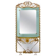 Pier Luigi Colli Mid-Century Modern Italian Wrought Iron Hallway Mirror, 1950s