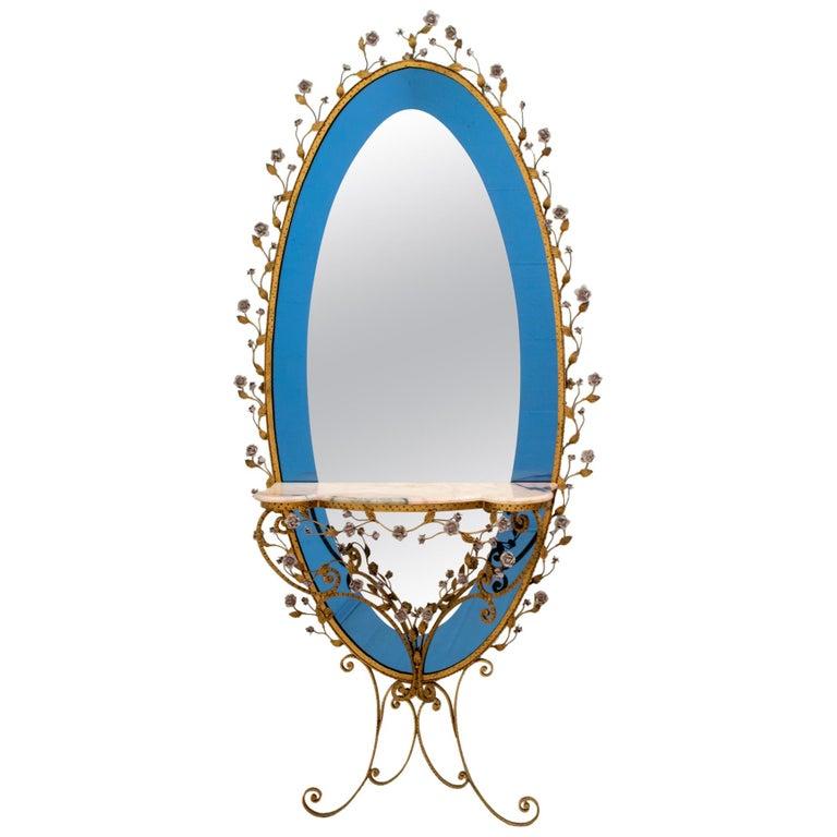 Pier Luigi Colli Mid-Century Modern Italian Wrought Iron Hallway Mirror, 1950s For Sale