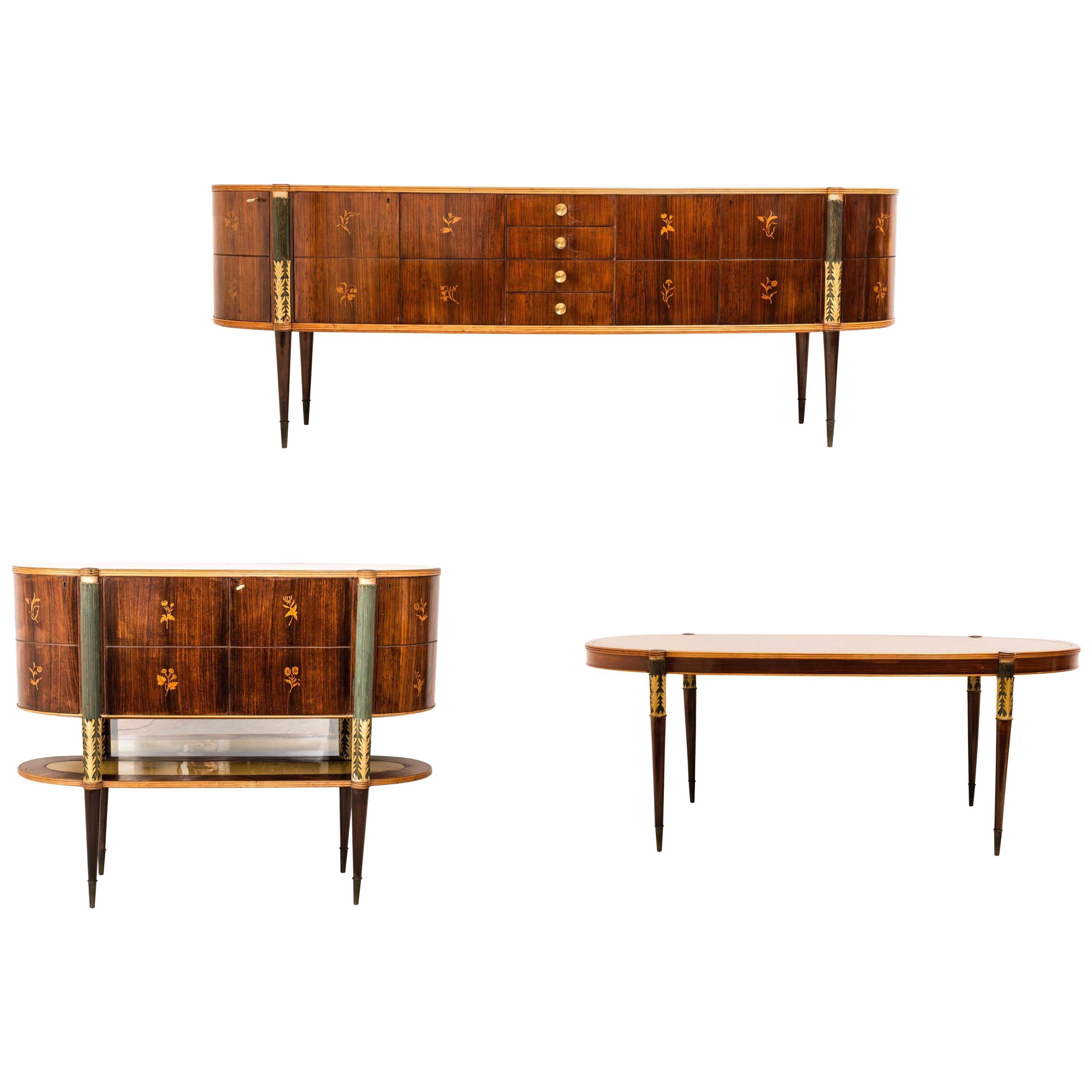Pier Luigi Colli Midcentury Italian Dining Room Set- Sideboard Table Bar Cabinet