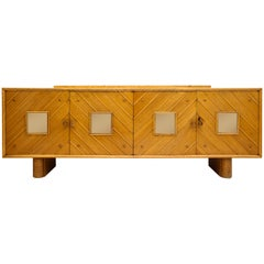 Pier Luigi Colli Oak Buffet Mirror Sideboard, Midcentury, Italy, 1940s-1950s