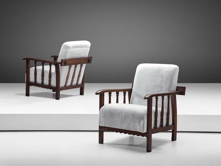 Italian Pier Luigi Colli Pair of Lounge Chairs in Oak For Sale