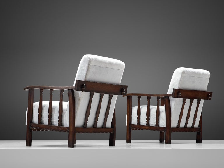 Fabric Pier Luigi Colli Pair of Lounge Chairs in Oak For Sale
