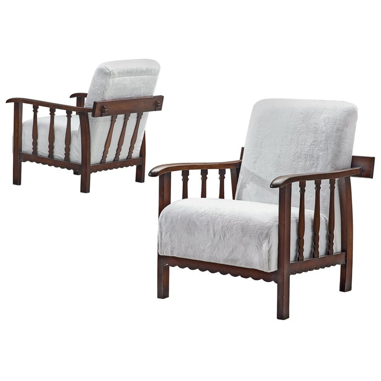 Pier Luigi Colli Pair of Lounge Chairs in Oak For Sale