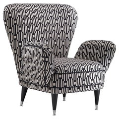 Piera Armchair Covered with Geometric Black & White Fabric, Black Lacquered