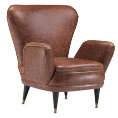 Piera Armchair in Dark Walnut Covered with Brown Leather