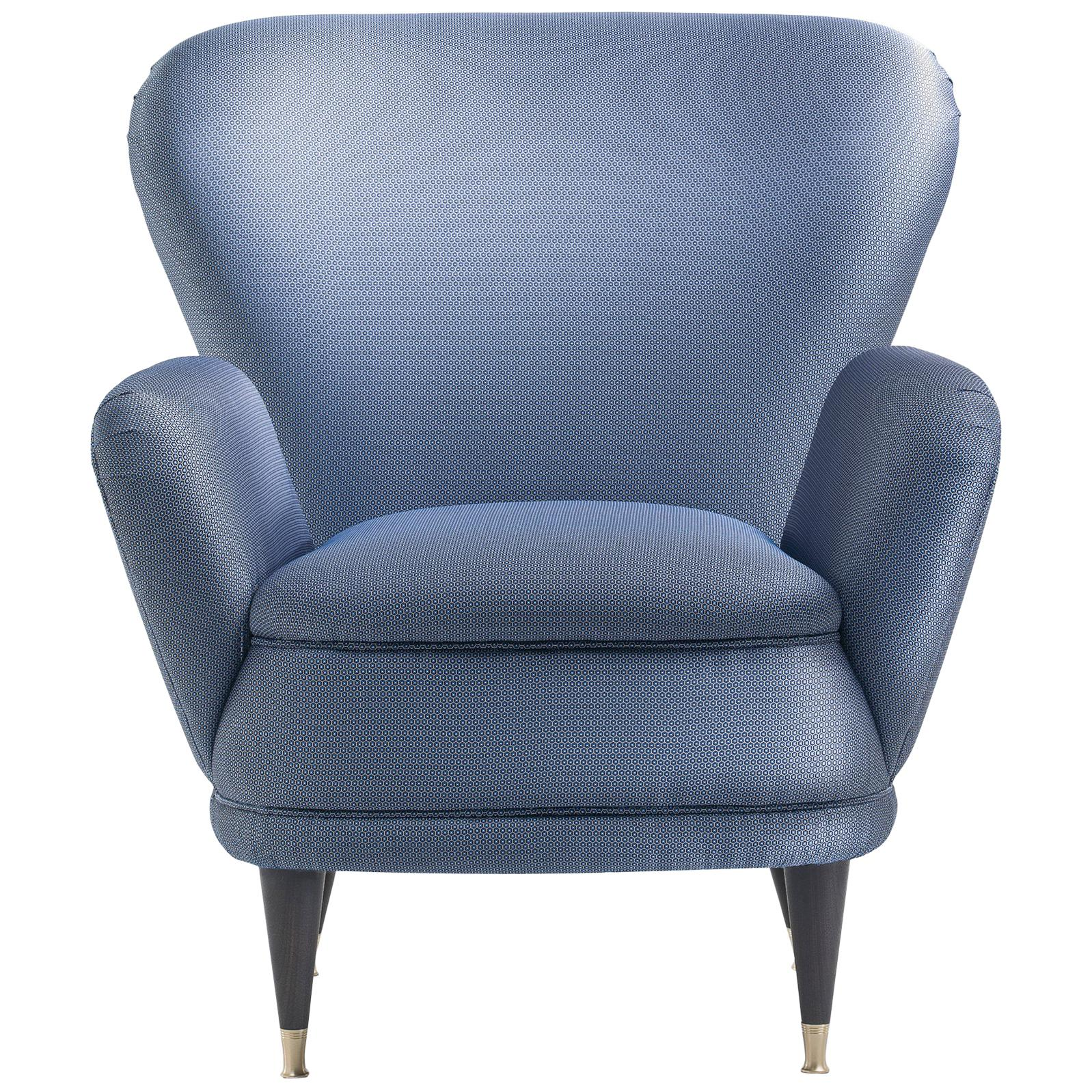 Piera Upholstered Wooden Armchair in Electric Blue Matt Black Lacquered