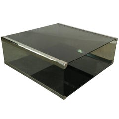 Pierangelo Gallotti, Coffee Table in Chromed Metal and Smoked Glass