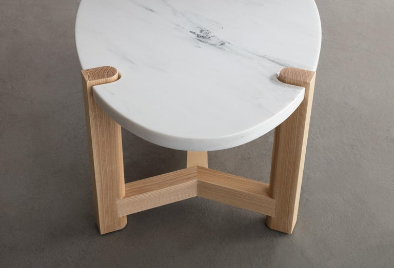 Contemporary Pierce Coffee Table, White Marble, Oval, Ash Hardwood For Sale
