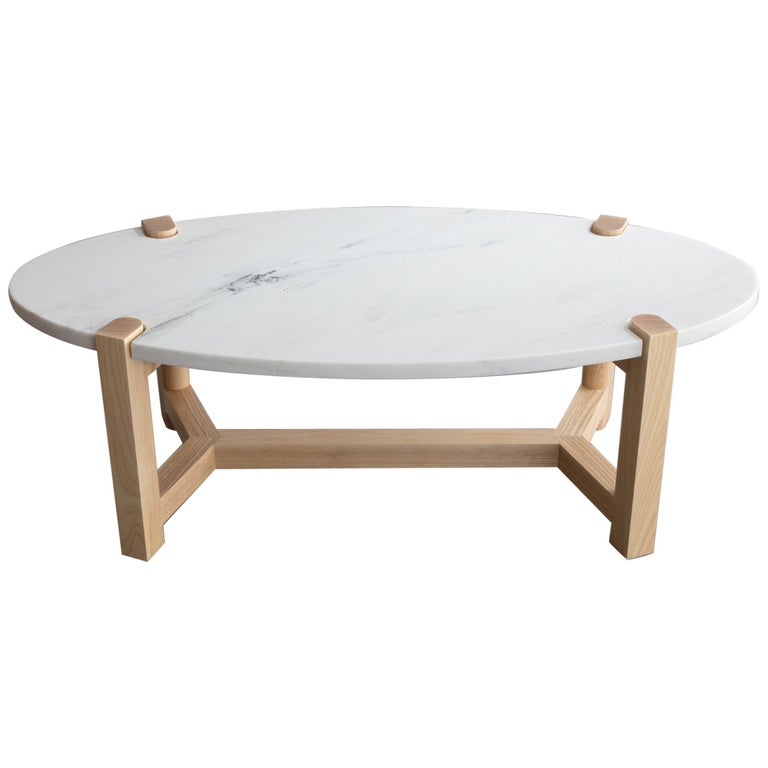 Pierce Coffee Table, White Marble, Oval, Ash Hardwood For Sale