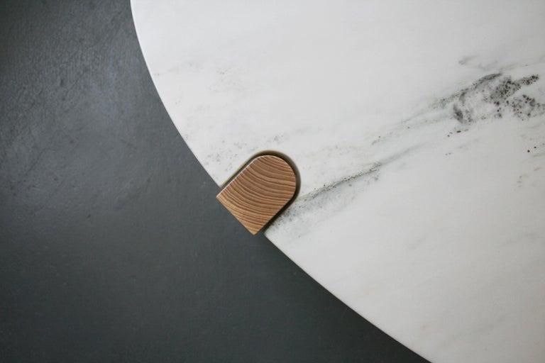 Pierce Coffee Table, White Marble, Oval, Walnut Hardwood For Sale 3
