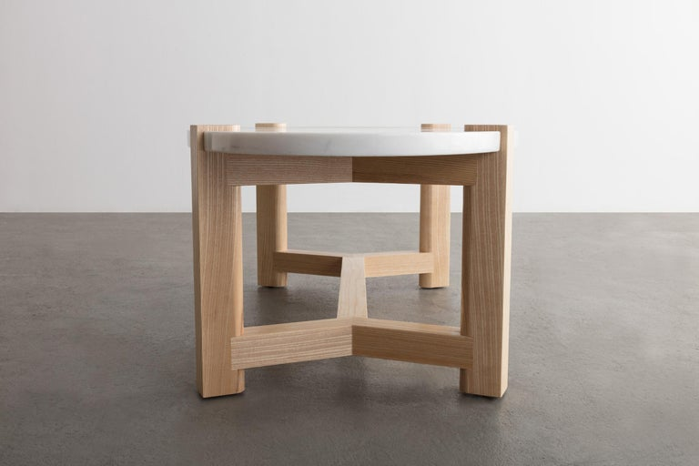 Pierce Coffee Table, White Marble, Oval, Walnut Hardwood For Sale 4