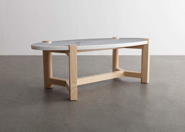 Pierce Coffee Table, White Marble, Oval, Walnut Hardwood For Sale 6