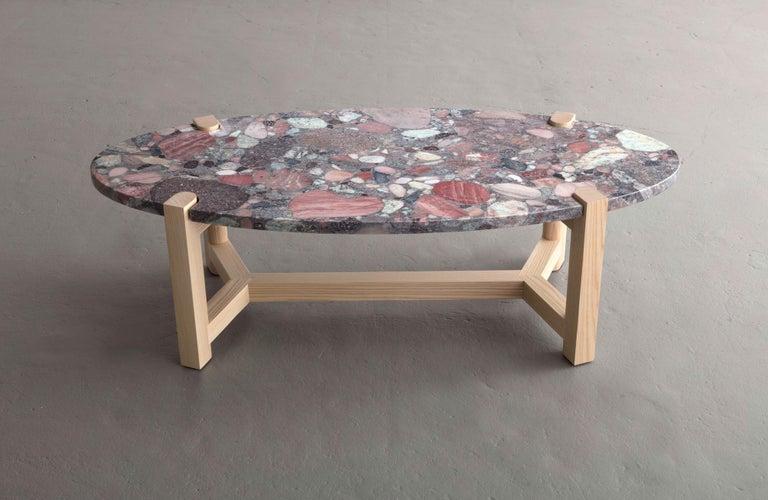 Pierce Coffee Table, White Marble, Oval, Walnut Hardwood For Sale 7
