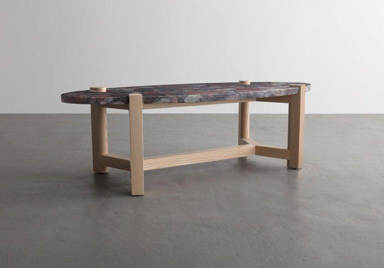 Pierce Coffee Table, White Marble, Oval, Walnut Hardwood For Sale 8
