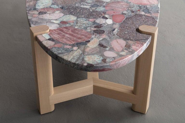 Pierce Coffee Table, White Marble, Oval, Walnut Hardwood For Sale 9