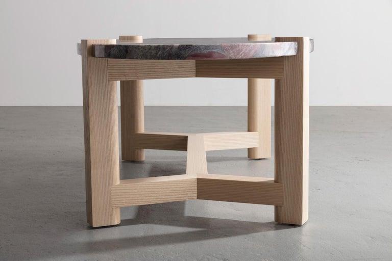 Pierce Coffee Table, White Marble, Oval, Walnut Hardwood For Sale 10
