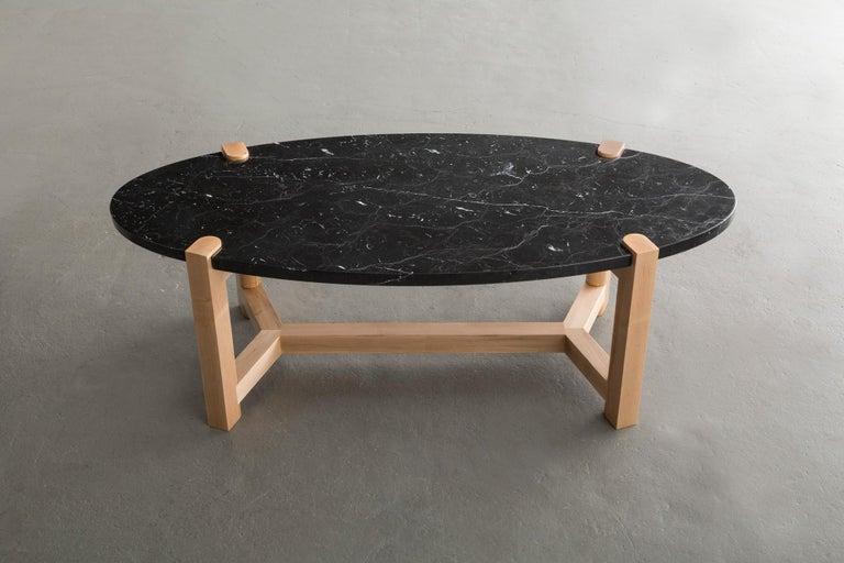 Pierce Coffee Table, White Marble, Oval, Walnut Hardwood For Sale 11