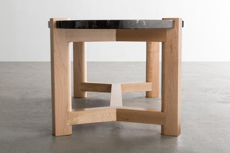 Pierce Coffee Table, White Marble, Oval, Walnut Hardwood For Sale 12