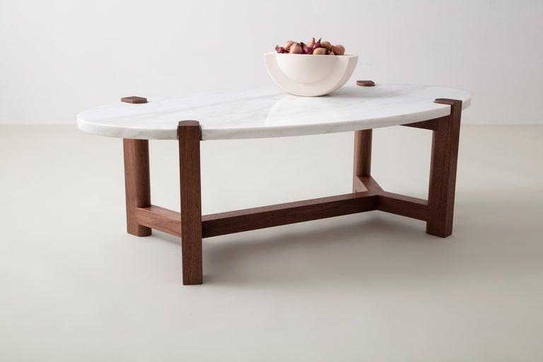 Modern Pierce Coffee Table, White Marble, Oval, Walnut Hardwood For Sale