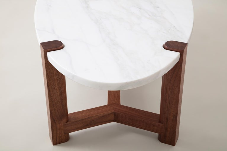 Hand-Crafted Pierce Coffee Table, White Marble, Oval, Walnut Hardwood For Sale