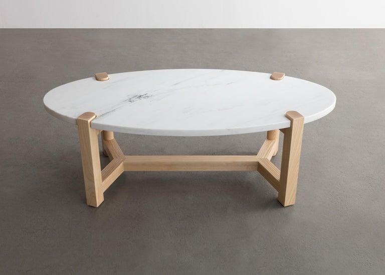 Cherry Pierce Coffee Table, White Marble, Oval, Walnut Hardwood For Sale