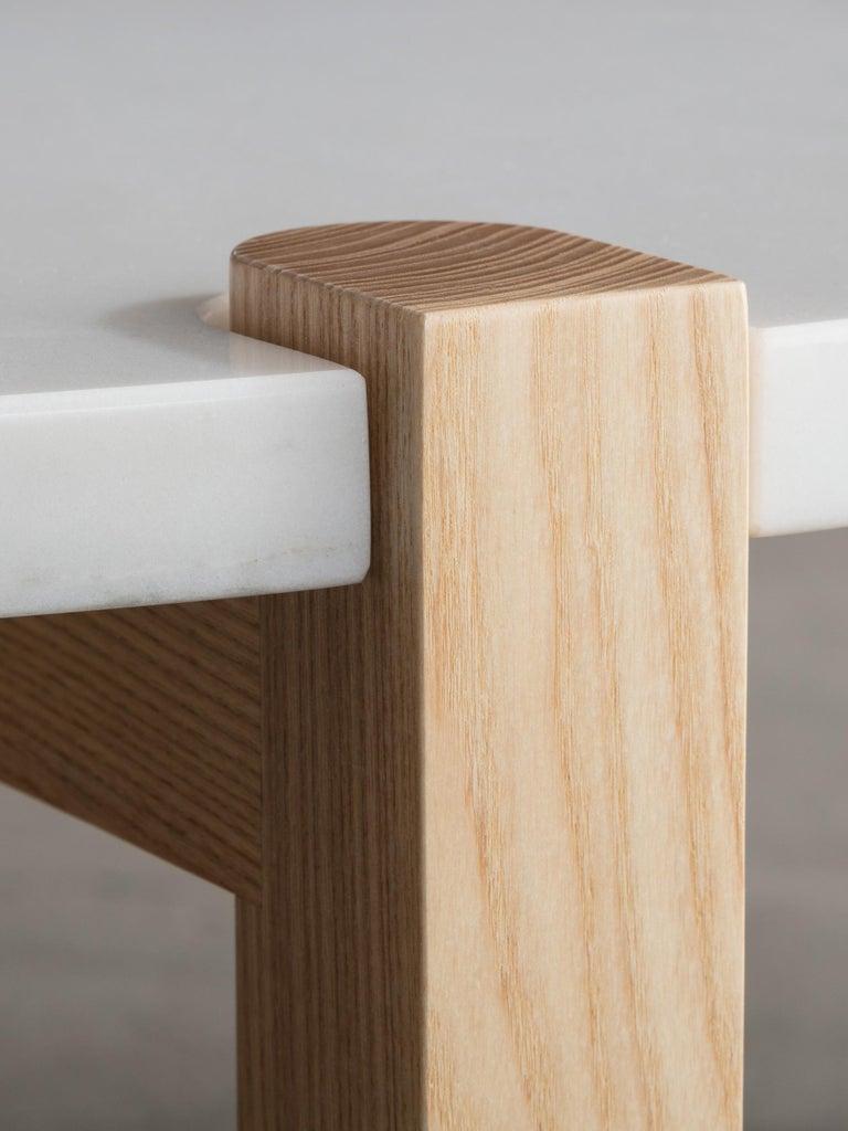 Pierce Coffee Table, White Marble, Oval, Walnut Hardwood For Sale 2