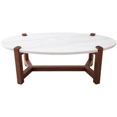 Pierce Coffee Table, White Marble, Oval, Walnut Hardwood
