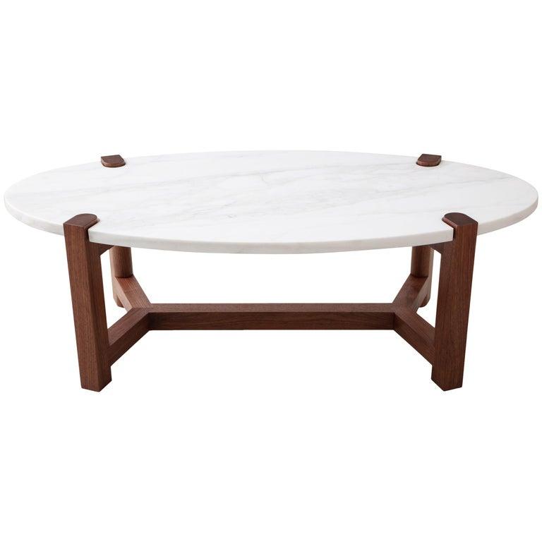 Pierce Coffee Table, White Marble, Oval, Walnut Hardwood For Sale